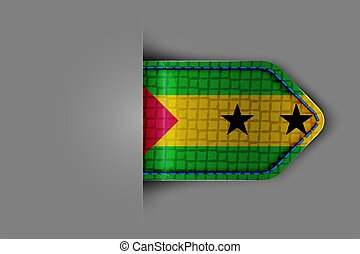 Flag of Sao Tome and Principe in the form of a glossy textured label or bookmark. Vector illustration.