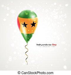 Flag of Sao Tome and Principe on balloon - Flag of Sao Tome...