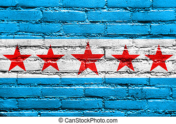 Flag of Sapucaia, Brazil, painted on brick wall