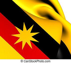 Flag of Sarawak, Malaysia. Close Up.