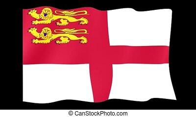 Flag of Sark. Waving