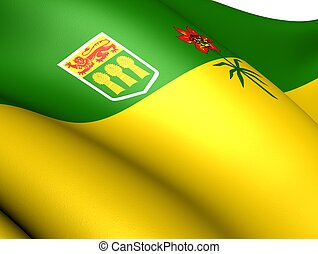 Flag of Saskatchewan, Canada. Close up.