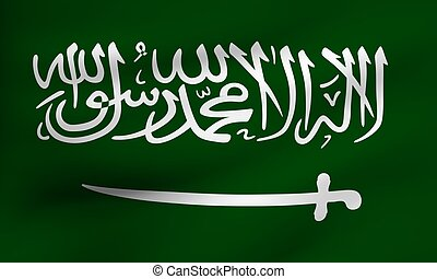 Flag of Saudi Arabia. Close up. Front view.