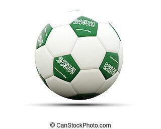 Flag of saudi arabia on football, isolated on white. 3D...
