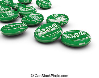 Flag of saudi arabia, round buttons