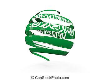 Flag of saudi arabia, round icon