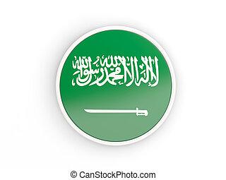 Flag of saudi arabia. Round icon with frame