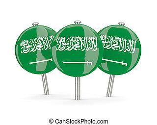 Flag of saudi arabia, round pins