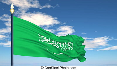 Flag Of Saudi Arabia on the background of the sky and flying...