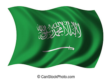 Flag of Saudi Arabia waving in the wind