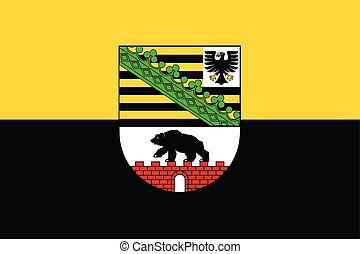 Flag of Saxony-Anhalt with Coat of Arms, Germany. Vector Format