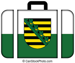 Flag of Saxony with Coat of Arms, Germany. Suitcase icon, travel and transportation concept