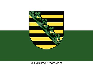 Flag of Saxony with Coat of Arms, Germany. Vector Format