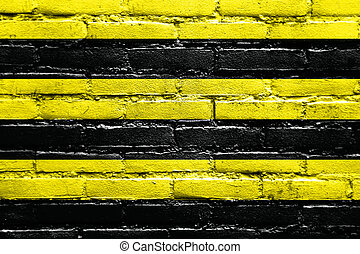 Flag of Schiedam, Netherlands, painted on brick wall