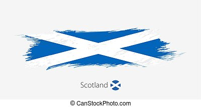 Flag of Scotland, grunge abstract brush stroke on gray background.