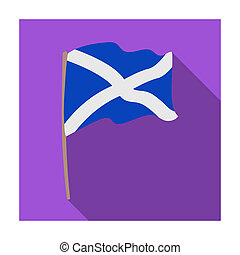 Flag of Scotland icon in flat style isolated on white background. Scotland country symbol stock bitmap illustration.