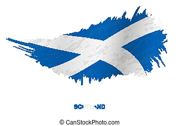 Flag of Scotland in grunge style with waving effect.