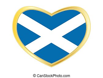 Flag of Scotland in heart shape, golden frame