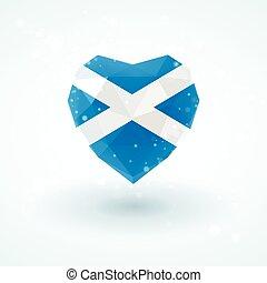 Flag of Scotland in shape diamond glass heart. Triangulation style