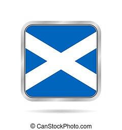 Flag of Scotland. Metallic gray square button.
