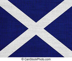 Flag of Scotland on old linen