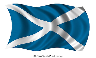 Flag of Scotland waving in the wind