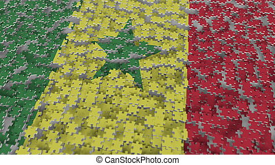 Flag of Senegal being made with jigsaw puzzle pieces. Senegalese problem solution conceptual 3D rendering