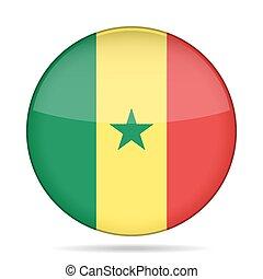 Flag of Senegal. Shiny round button.