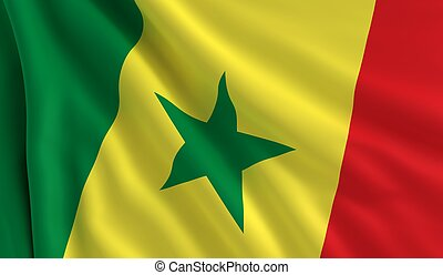Flag of Senegal - A flag of Senegal in the wind