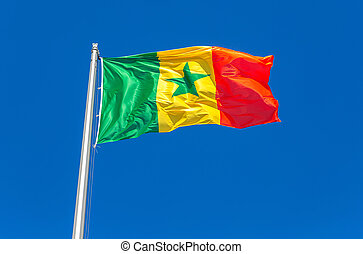Flag of Senegal waving in the wind against the sky