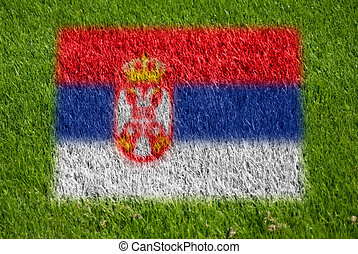 flag of serbia on grass