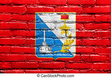 Flag of Sevastopol, Ukraine, painted on brick wall