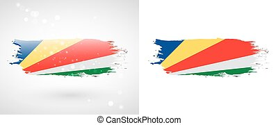 Flag of Seychelles. Independence Day. Flag painted with a...