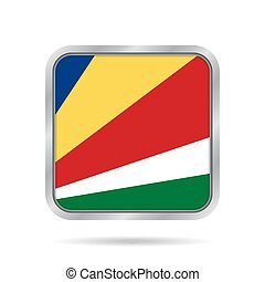 Flag of Seychelles. Metallic gray square button.