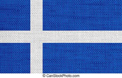 Flag of Shetland Islands on old linen