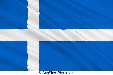 Flag of Shetland of Scotland, United Kingdom of Great...