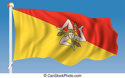 Flag of Sicily - vector illustration