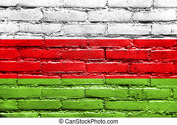 Flag of Sincelejo, Colombia, painted on brick wall