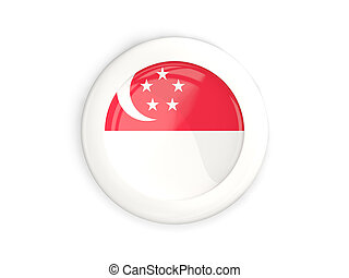 Flag of singapore, glossy round button