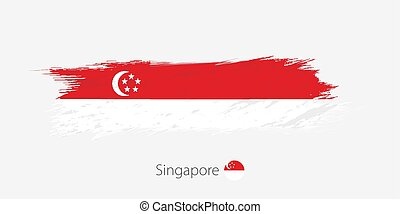Flag of Singapore, grunge abstract brush stroke on gray background.