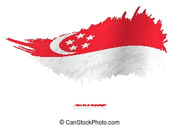 Flag of Singapore in grunge style with waving effect.