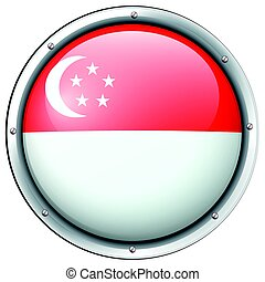 Flag of Singapore in round frame