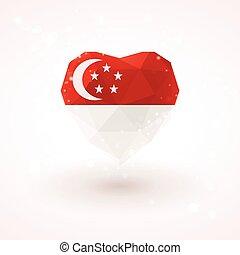 Flag of Singapore in shape diamond glass heart. Triangulation style