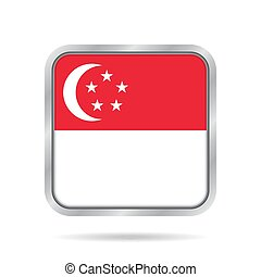 Flag of Singapore. Metallic gray square button.