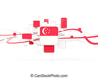 Flag of singapore, mosaic background with lines