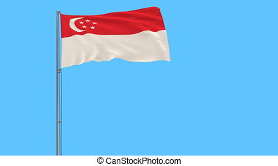 Flag of Singapore on flagpole fluttering in the wind on blue background, 3d rendering