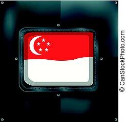 Flag of Singapore on metalic background