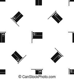 Flag of Singapore pattern seamless black