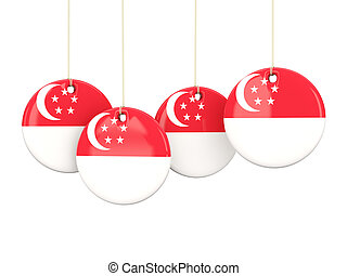 Flag of singapore, round labels
