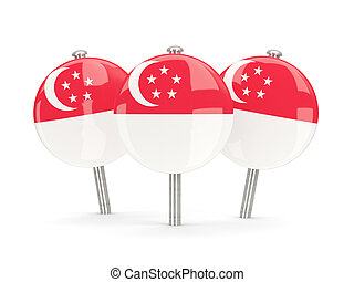 Flag of singapore, round pins